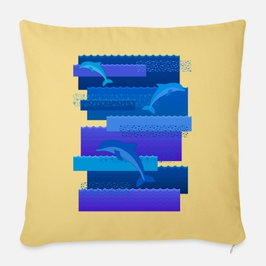 Waves & dolphins - Sofa pillow with filling 45cm x 45cm