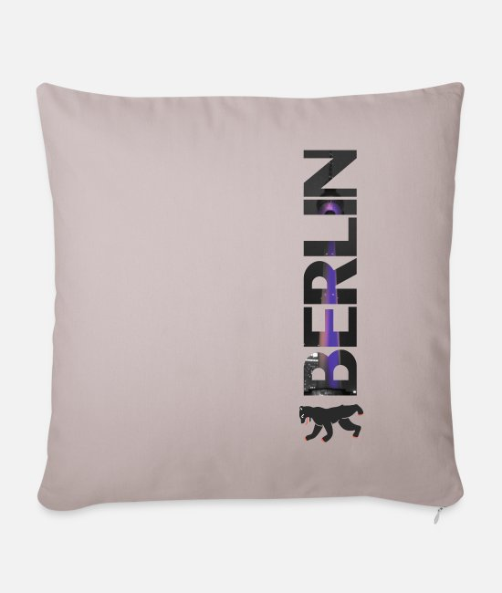 Berlinale Pillow Cases - Berlin lettering - gift - Sofa pillow with filling 45cm x 45cm light taupe