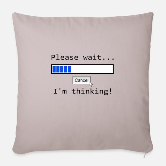 Think Pillow Cases - Nerd Pc T-shirt thinking screen demolition - Sofa pillow with filling 45cm x 45cm light taupe