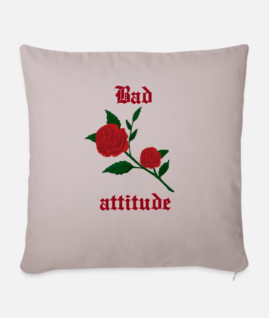 Darkness Pillow Cases - Bad attitude heart rose gothic culture gift idea - Sofa pillow with filling 45cm x 45cm light taupe