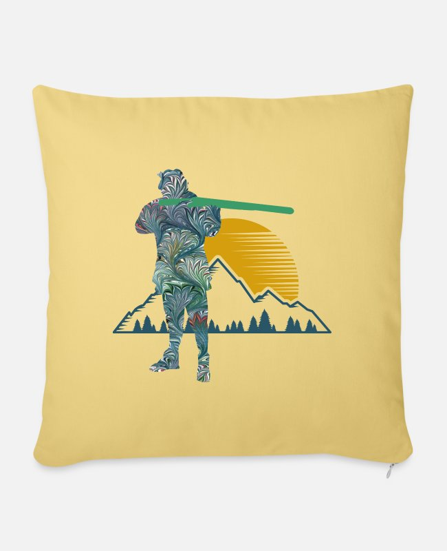 Mountains Pillow Cases - hunter e 115 - Sofa pillow with filling 45cm x 45cm washed yellow