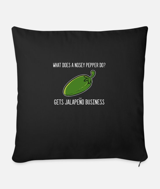 Vegetables Pillow Cases - Peper Jalapeno Funny Funny Person Gift - Sofa pillow with filling 45cm x 45cm black