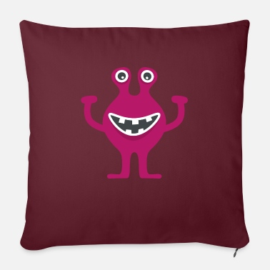 Kenny - the little monster laughs and raises his arms - Sofa pillow with filling 45cm x 45cm