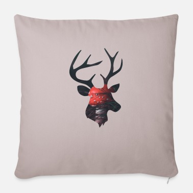 Funges Deer and Red Mushroom - Sofa pillow with filling 45cm x 45cm