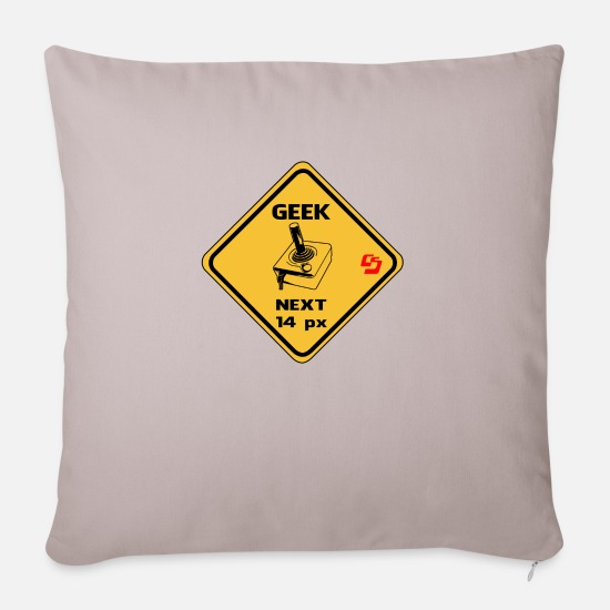 Geek Pillow Cases - roadsign geek by CustomStyle - Sofa pillow with filling 45cm x 45cm light taupe
