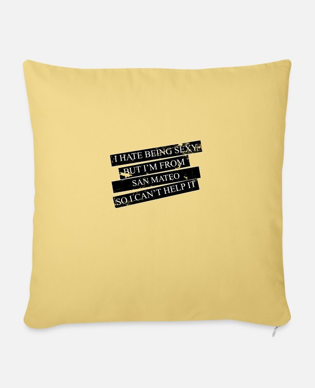 Proud Pillow Cases - Motive for cities and countries - SAN MATEO - Sofa pillow with filling 45cm x 45cm washed yellow