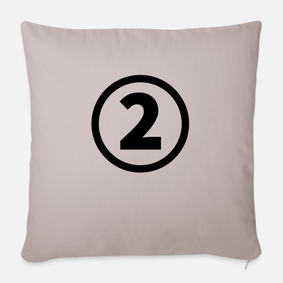 Birthday Pillow Cases - number two - Sofa pillow with filling 45cm x 45cm light taupe