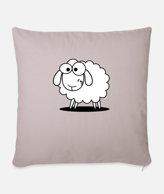 Cute Pillow Cases - Funny sheep with sweet look - Sofa pillow with filling 45cm x 45cm light taupe