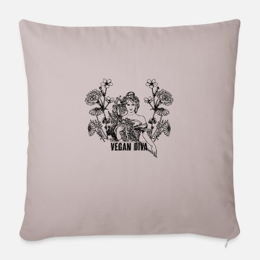 Vegan Diva - lady with flowers - Sofa pillow with filling 45cm x 45cm