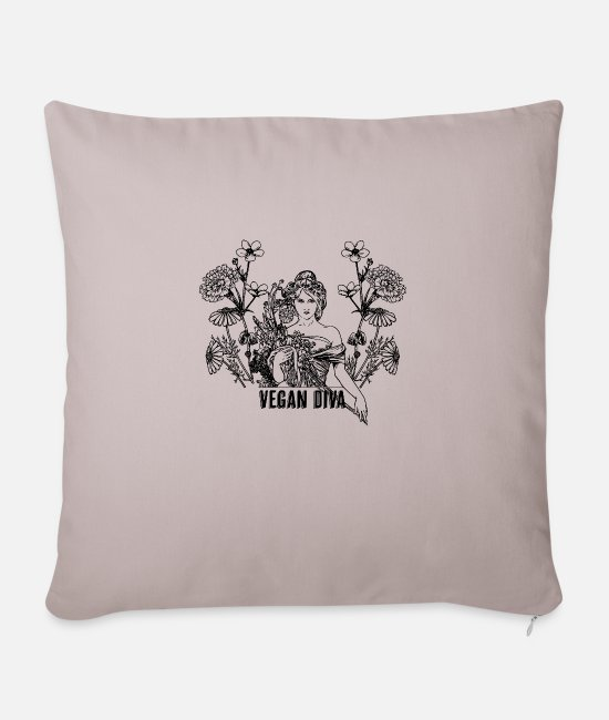 Animal Welfare Pillow Cases - Vegan Diva - lady with flowers - Sofa pillow with filling 45cm x 45cm light taupe