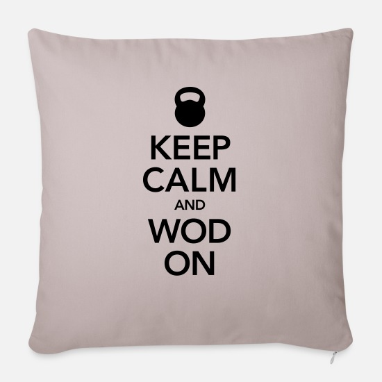 Games Pillow Cases - Keep Calm, And WOD ON - Sofa pillow with filling 45cm x 45cm light taupe