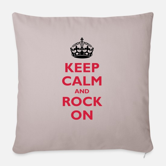Rock Pillow Cases - Keep calm and - Sofa pillow with filling 45cm x 45cm light taupe