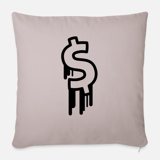 Euro Pillow Cases - dollar - Sofa pillow with filling 45cm x 45cm light taupe