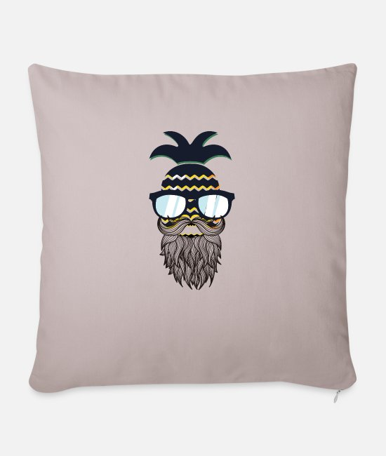 Beard Pillow Cases - Funny perfect hipster pineapple - Sofa pillow with filling 45cm x 45cm light taupe