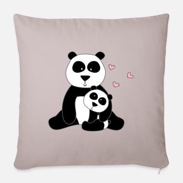 Stylized Animal Panda with cub - Sofa pillow with filling 45cm x 45cm