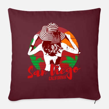 San Diego Red Bikini Girl Vintage - Sofa pillow with filling 45cm x 45cm
