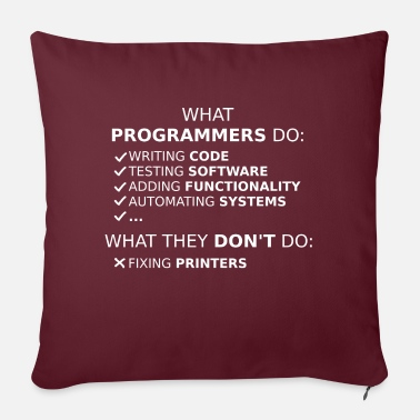 Program What programmers do and what they don't do (white) - Sofa pillow with filling 45cm x 45cm