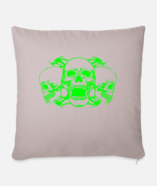 Heavy Pillow Cases - Green skulls - Sofa pillow with filling 45cm x 45cm light taupe