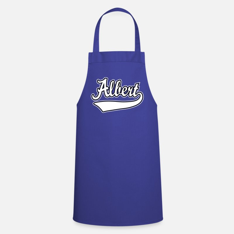 Personalised Aprons - Albert - The name as a sport swash - Apron royal blue