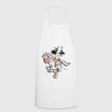 American Indian American Indian with wild horse - Cooking Apron
