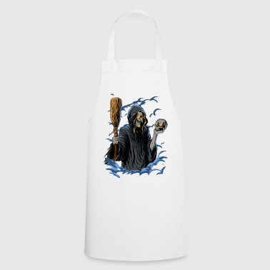 Scary Witch with Skull and Broom - Cooking Apron
