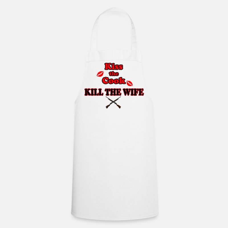 Angry Aprons - Kiss the Cook, kill the Wife - Apron white