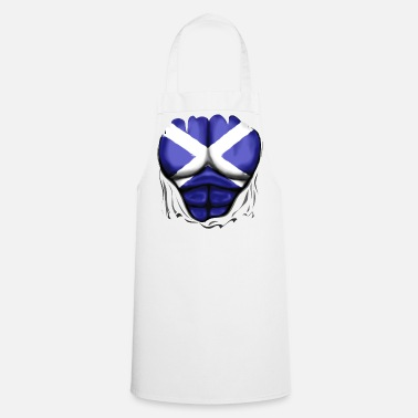 Six Pack Scotland Flag Ripped Muscles, six pack, chest t-shirt - Cooking Apron