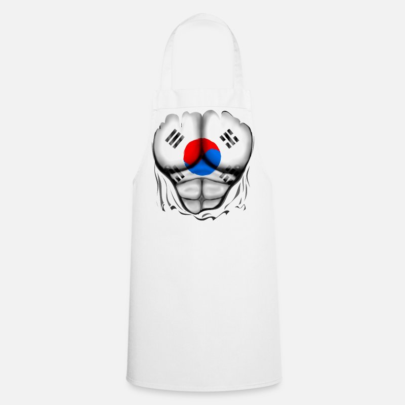 Flag Aprons - South Korea Flag Ripped Muscles, six pack, chest t-shirt - Apron white