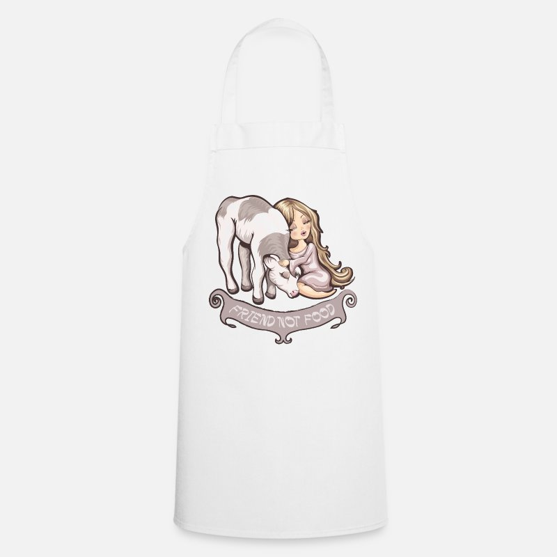 Bestsellers Q4 2018 Aprons - friend not food - Apron white