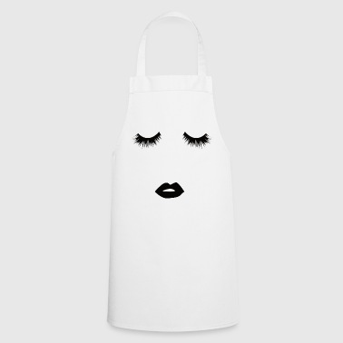 eyelashes kissing in black - Cooking Apron