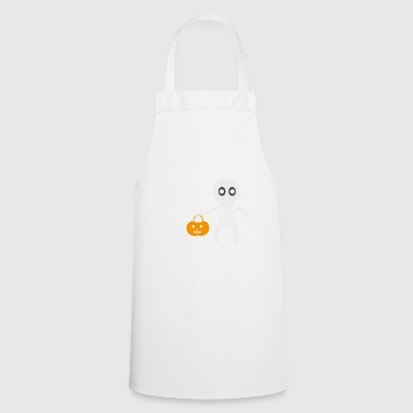 tricky skeleton with pumpkin lantern - Cooking Apron