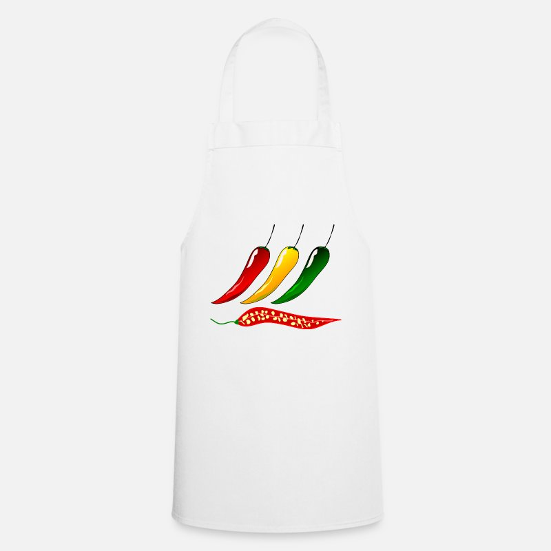 Bless You Aprons - paprika chilli chili pepper citrus veggie vegetable - Apron white