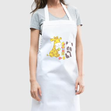 Giraffe and Panda playing with Blocks - Cooking Apron