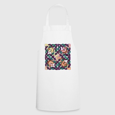 Celtic knot, horse head, 4, square, mandala, - Cooking Apron