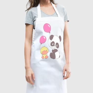 Panda and Duckling with Balloons - Cooking Apron