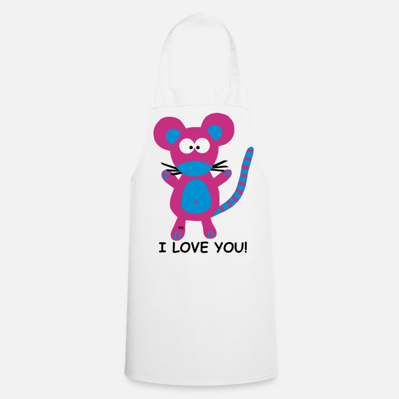 Ik Hou Van Je Kookschorten - I love you Mouse - Schort wit