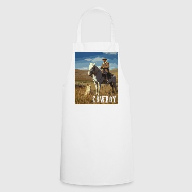Horse Riding Cowboy With Dog Western Horse Dog - Cooking Apron