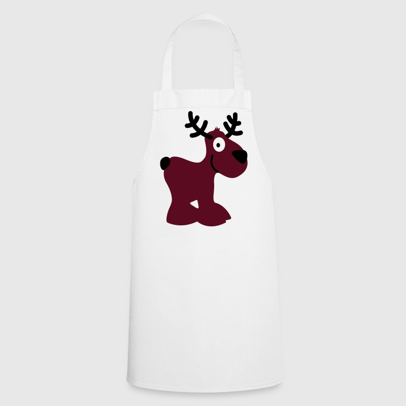 cute moose caribou reindeer deer christmas norway rudolph rudolf winter scandinavia canada smile eye - Cooking Apron