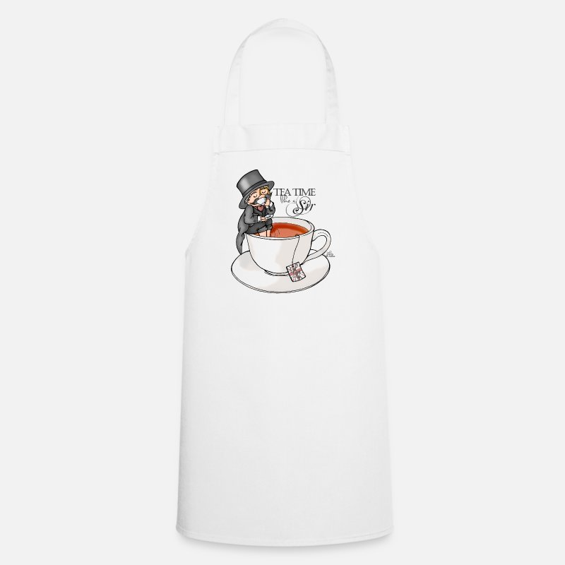 Funny Aprons - tea time like a Sir with Earl Grey (text) - Apron white