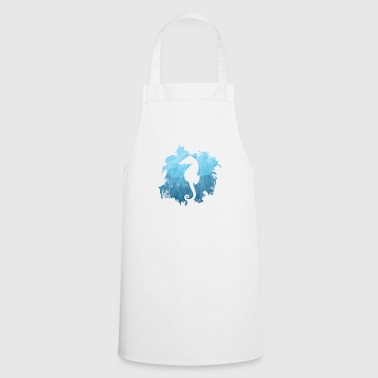 Sea horse gift coral reef silhouette diver - Cooking Apron