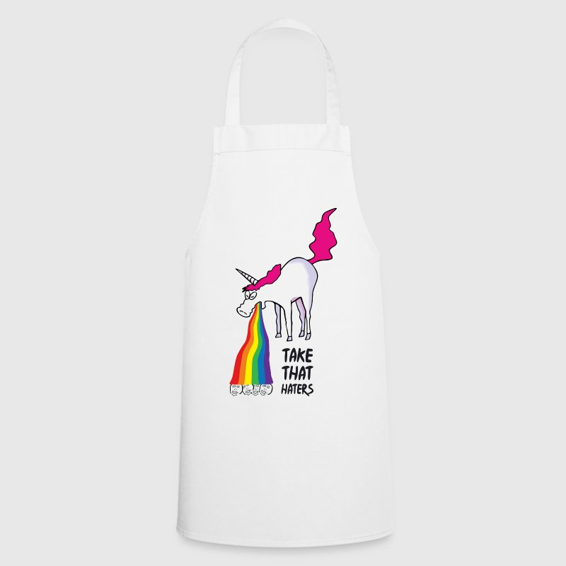 Unicorn vomiting rainbow - take that haters - Cooking Apron