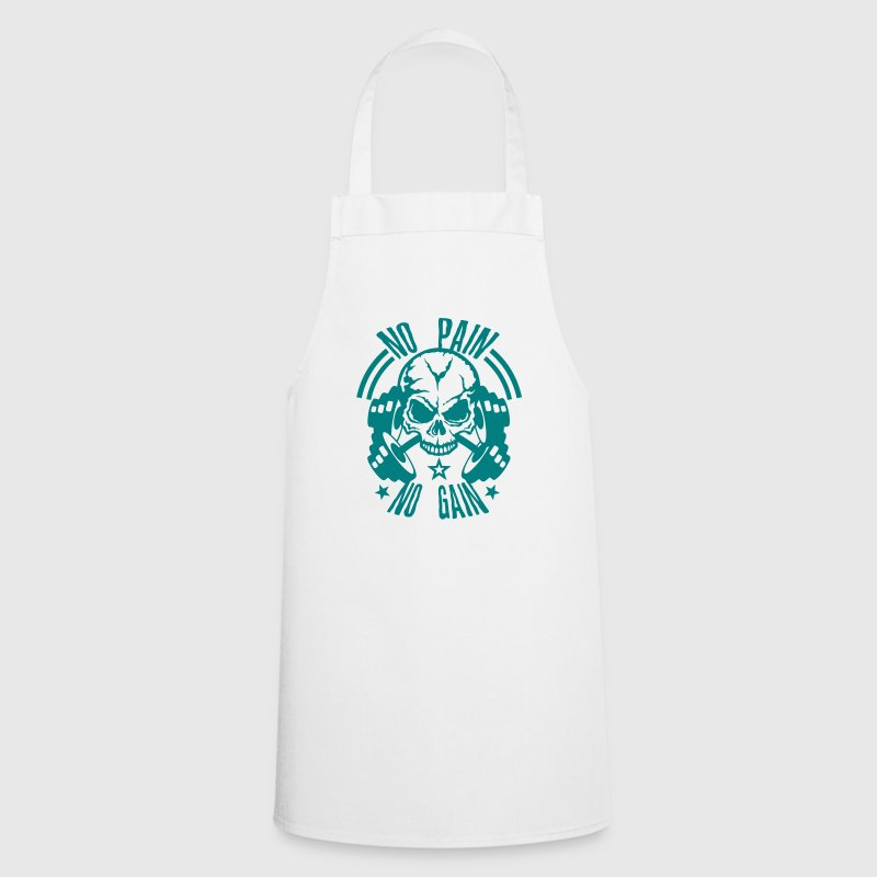 no pain gain quote skull bodybuilding dumbbell - Cooking Apron