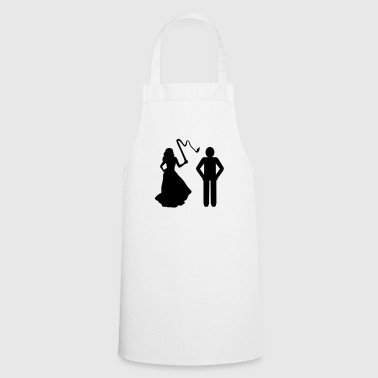Marriage, Bride with whip & Groom - Cooking Apron