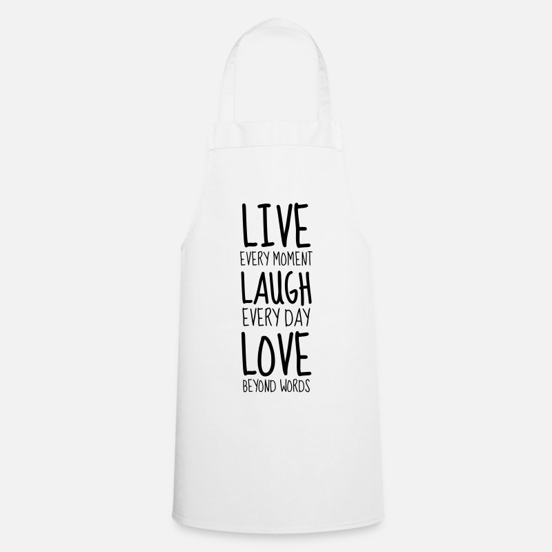 Amitié Tabliers - Live Laugh Love - Humor - Funny - Joke - Friend - Tablier blanc