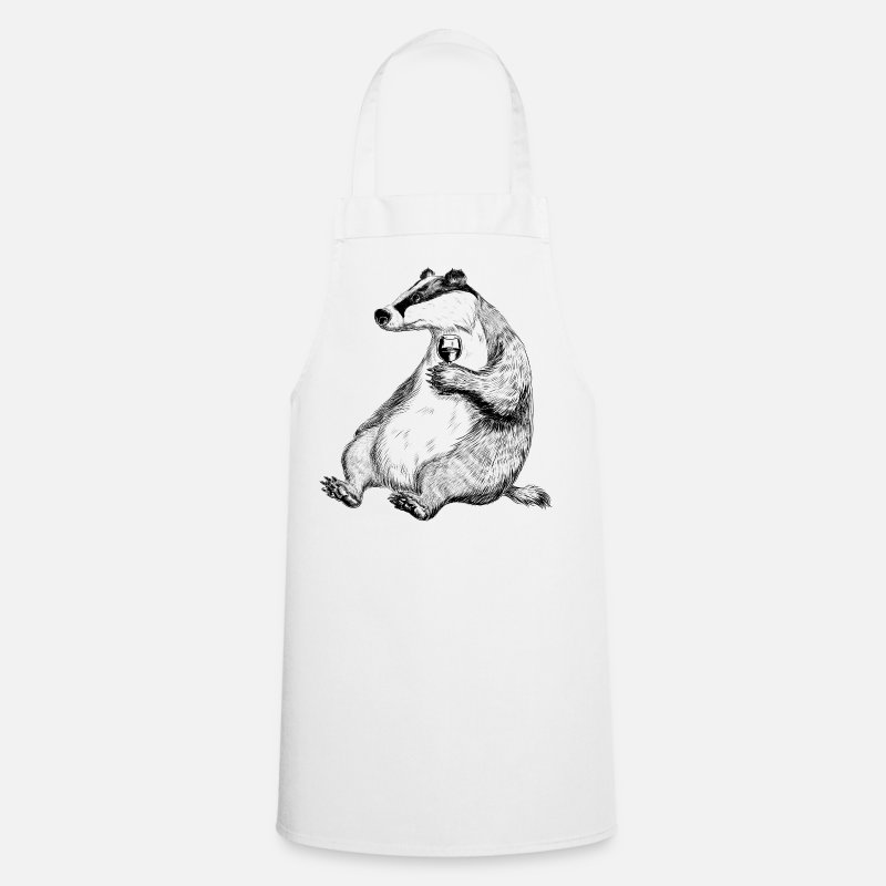 Badger Aprons - Badger with Wine - Apron white