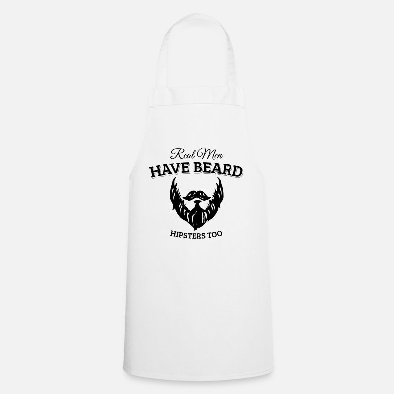 Hipster Aprons - Real men wear beard, hipster - Apron white