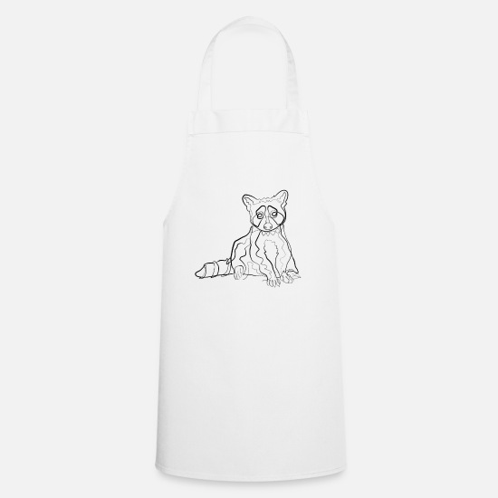 Gift Idea Aprons - Raccoon - one line drawing - Apron white