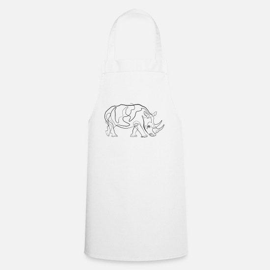 Gift Idea Aprons - Rhino - one line drawing - Apron white