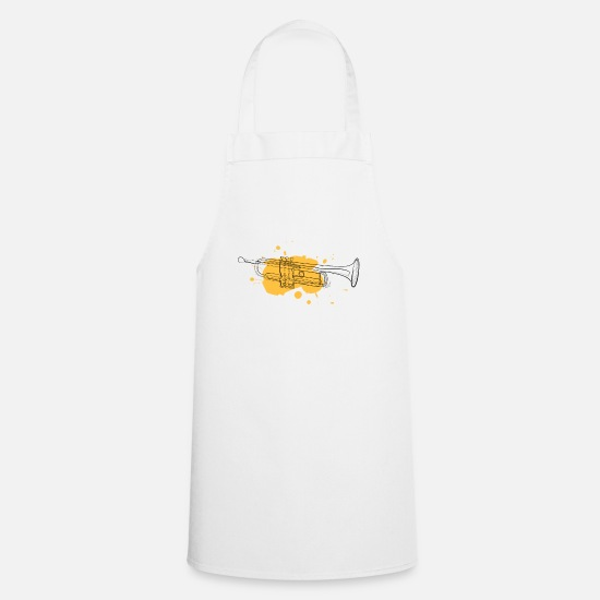 Art Aprons - Trumpet | one line drawing - Apron white