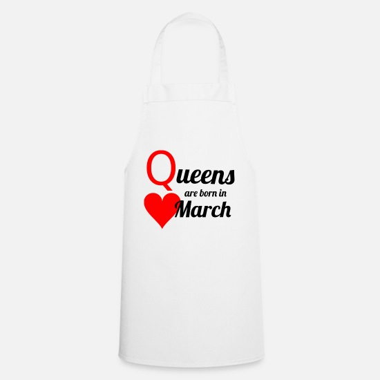 Birthday Aprons - March Queen - Apron white